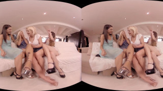 VirtualRealPorn - Four girls playing with dildos in VR