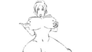 ふたなりの線描画GIF