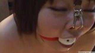 鼻のフック付き魅力的な日本人女性がホットワックスを満たしている