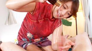 【尾上若葉】オイルたっぷりの超絶手ヌキでザーメンを搾り出すチャイナ服の巨乳エステティシャン
